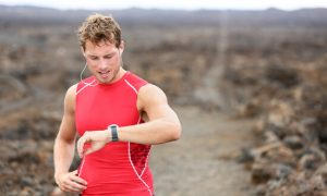 male runner with tracker